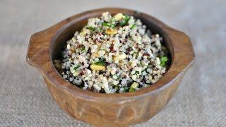 Lemon Herb Rainbow Quinoa Salad With Toasted Pine Nuts