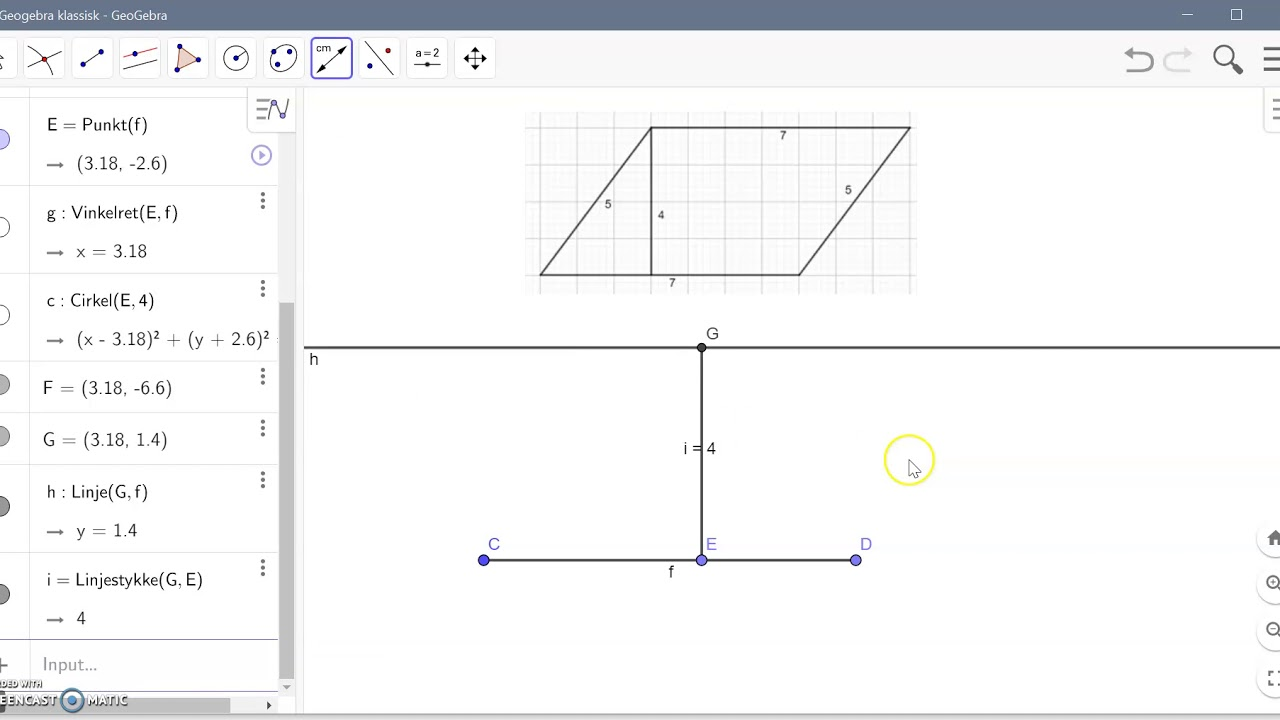 Parallelogram med given højde i Geogebra
