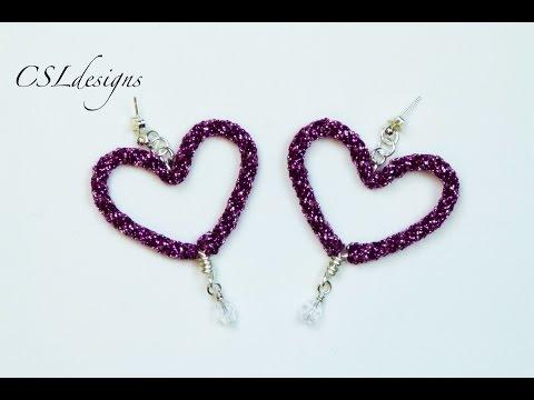Kumihimo heart earrings | Valentine's Day