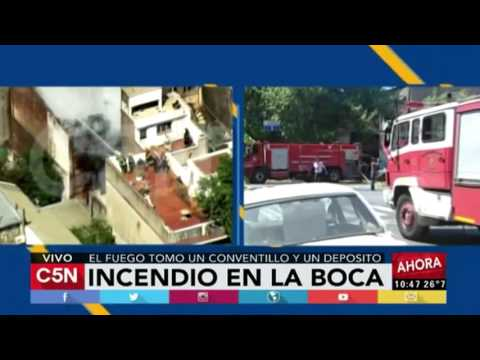 C5N - Sociedad: El fuego tomó un conventillo y un depósito en La Boca