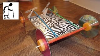 Twin Propeller Rubber Band Powered Car