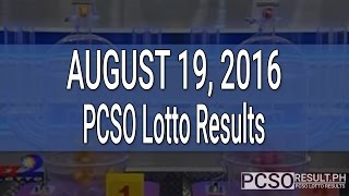 PCSO Lotto Results August 19, 2016 (6/58, 6/45, 4D, Swertres & EZ2)
