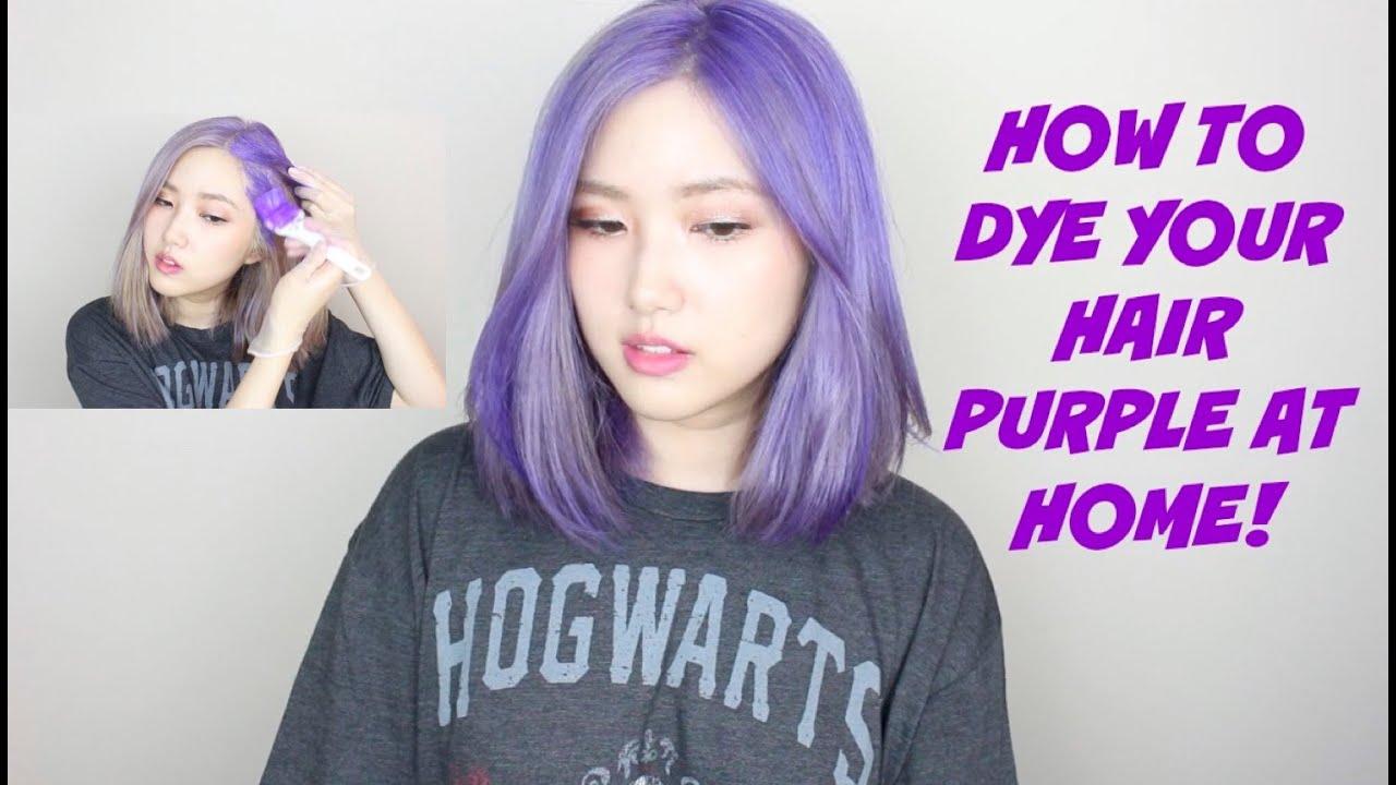 HOW TO DYE YOUR HAIR PURPLE AT HOME | 보라색 셀프염색 (KOREAN SUB ...
