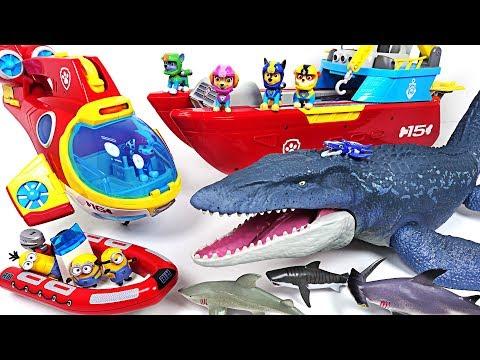 Jurassic World 2 huge sea dinosaur Mosasaurus appeared! Paw Patrol! Save the minions! - DuDuPopTOY