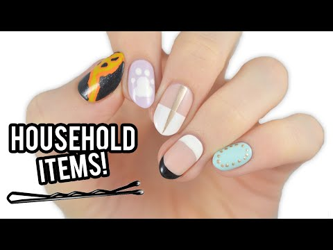 5 EASY Nail Art Designs Using HOUSEHOLD ITEMS! thumbnail
