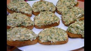 Закусочные бутерброды с печенью трески и сыром./Snack sandwiches.
