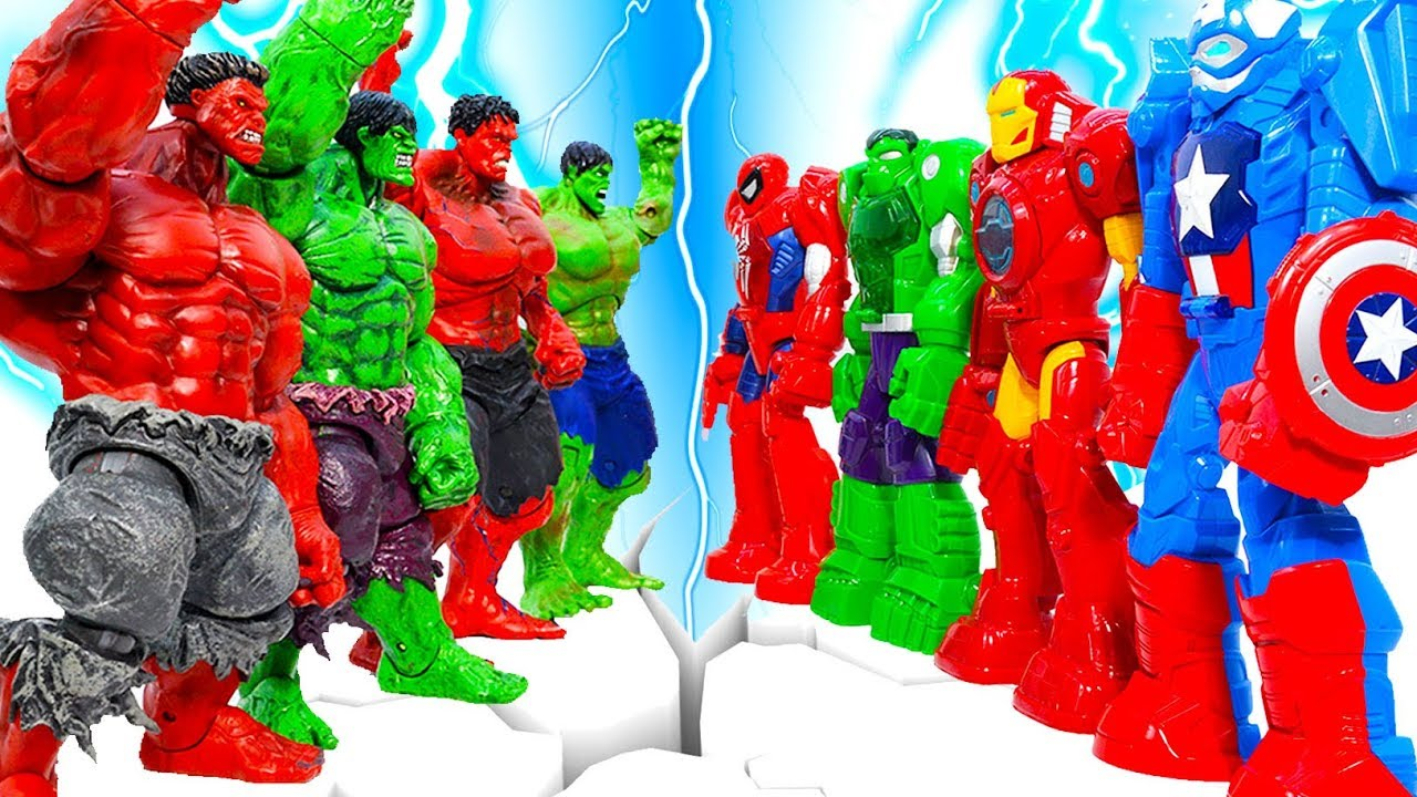 Download Marvel Hulk Green Smash Collection Defeadted By Robot Avengers IronMan , Spiderman ~! Toys Play Time