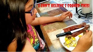 Girl Cooks Bacon and Eggs for First Time