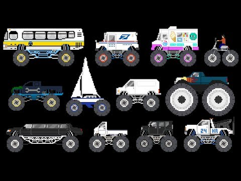 Monster Vehicles 3 - Monster Trucks & Street Vehicles - The Kids' Picture Show (Fun & Educational)