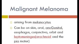 malignant melanoma I dental lectures.