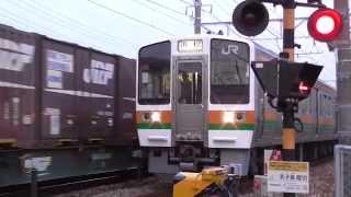 (列車緊急停止) 車が踏切遮断機を破損、緊急停止する列車 thumbnail