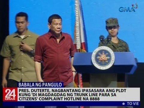 Duterte, nagbantang ipasasara ang PLDT kung 'di magdagdag ng trunk line para sa citizens' complaint