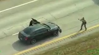 Police Helicopter Video Captures Shootout on Interstate