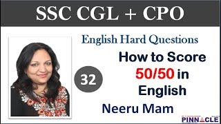 9:00 PM SSC CGL Tier 1 Hard questions | Online Test Series  I  English section