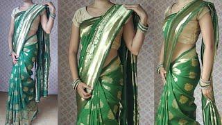 Low waist saree draping | heavy silk saree draping | jacquard Art silk saree wear | Banarasi silk