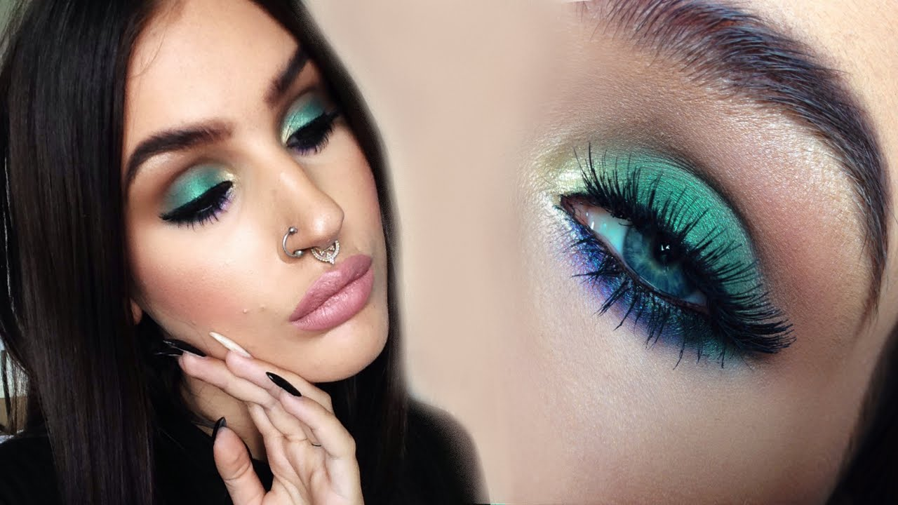 ♡ soft colorful smokey eyes | green gold and purple makeup tutorial ♡