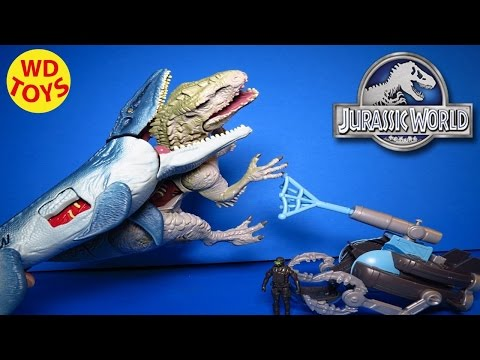 New JURASSIC WORLD MOSASAURUS VS. SUBMARINE  & 2015 Indominus Rex By WD Toys