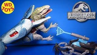 new jurassic world mosasaurus vs submarine 2015 hybrid indominus rex unboxing wd toys