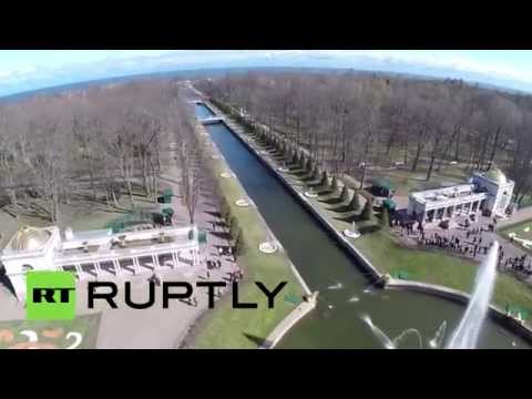Famous Fountains: Drone buzzes St. Petersburg Peterhof