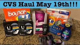 CVS Extreme Couponing Haul | May 19th| Cheap Liners, Tide, Makeup & More!!!!