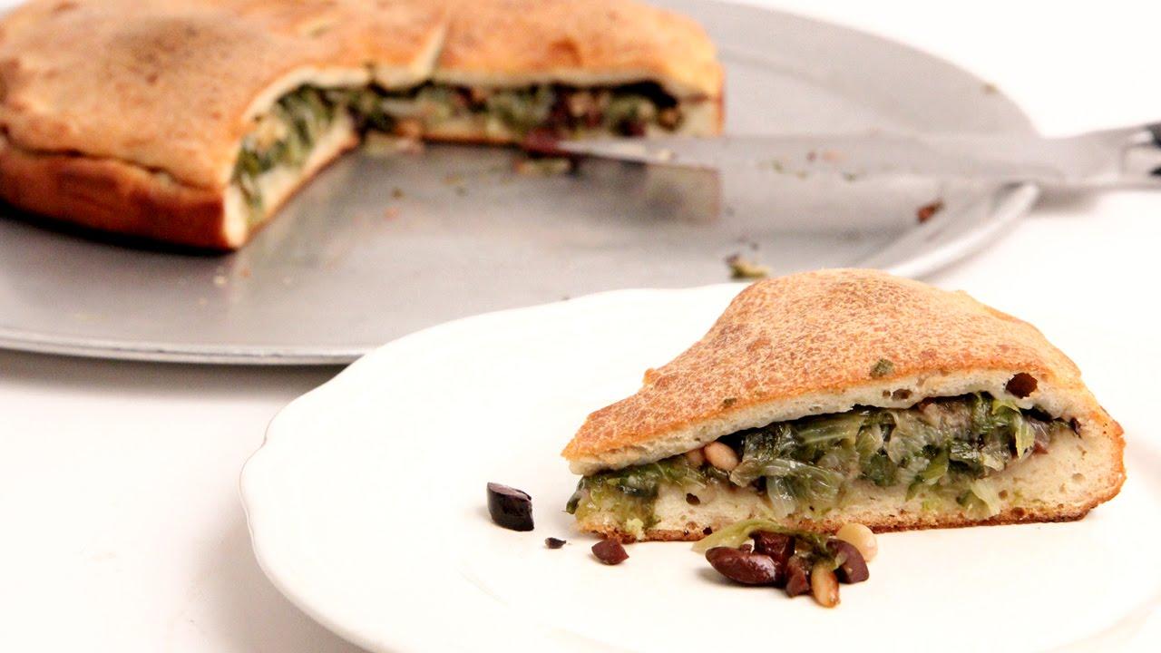 escarole stuffed pizza recipe - laura vitale - laura in the