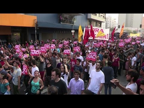 Brazil protesters and police clash at bus fare demo