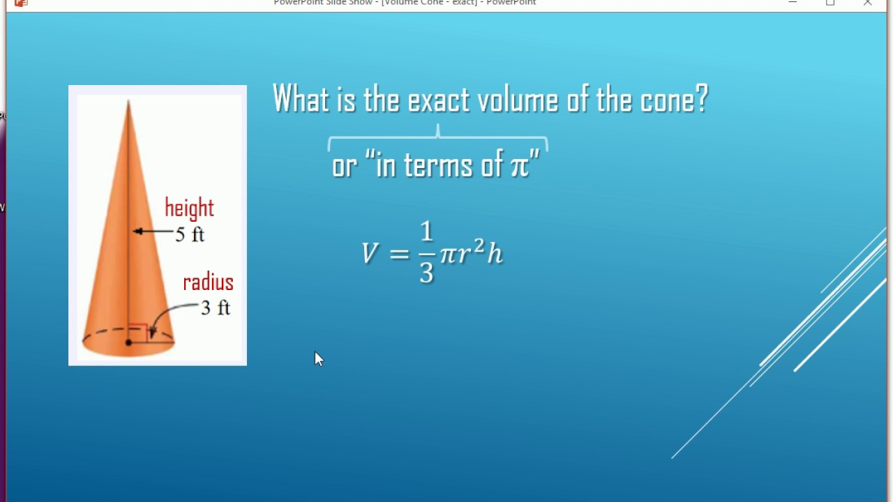 Volume Of A Cone (exact)