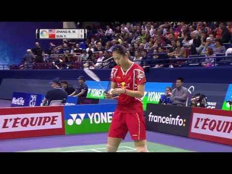 Yonex French Open 2016 | Badminton SF M2-WS | Zhang Beiwen vs Sun Yu