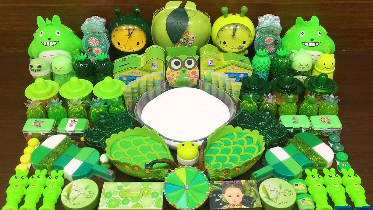 GREEN Slime ! Mixing Random Things into GLOSSY Slime ! Satisfying Slime Videos #338