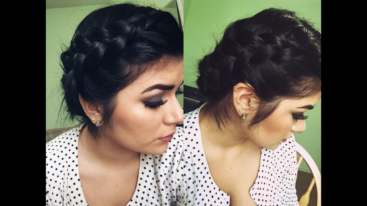 braided updo for short hair - youtube