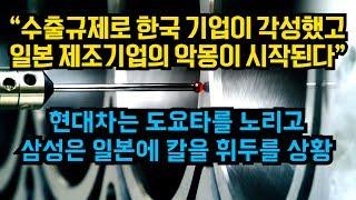 """""""수출규제로 한국 기업이 각성했고 일본 제조기업의 악몽이 시작된다."""" 현대차는 도요타를 노리고 삼성은 일본에 칼을 휘두를 상황"""