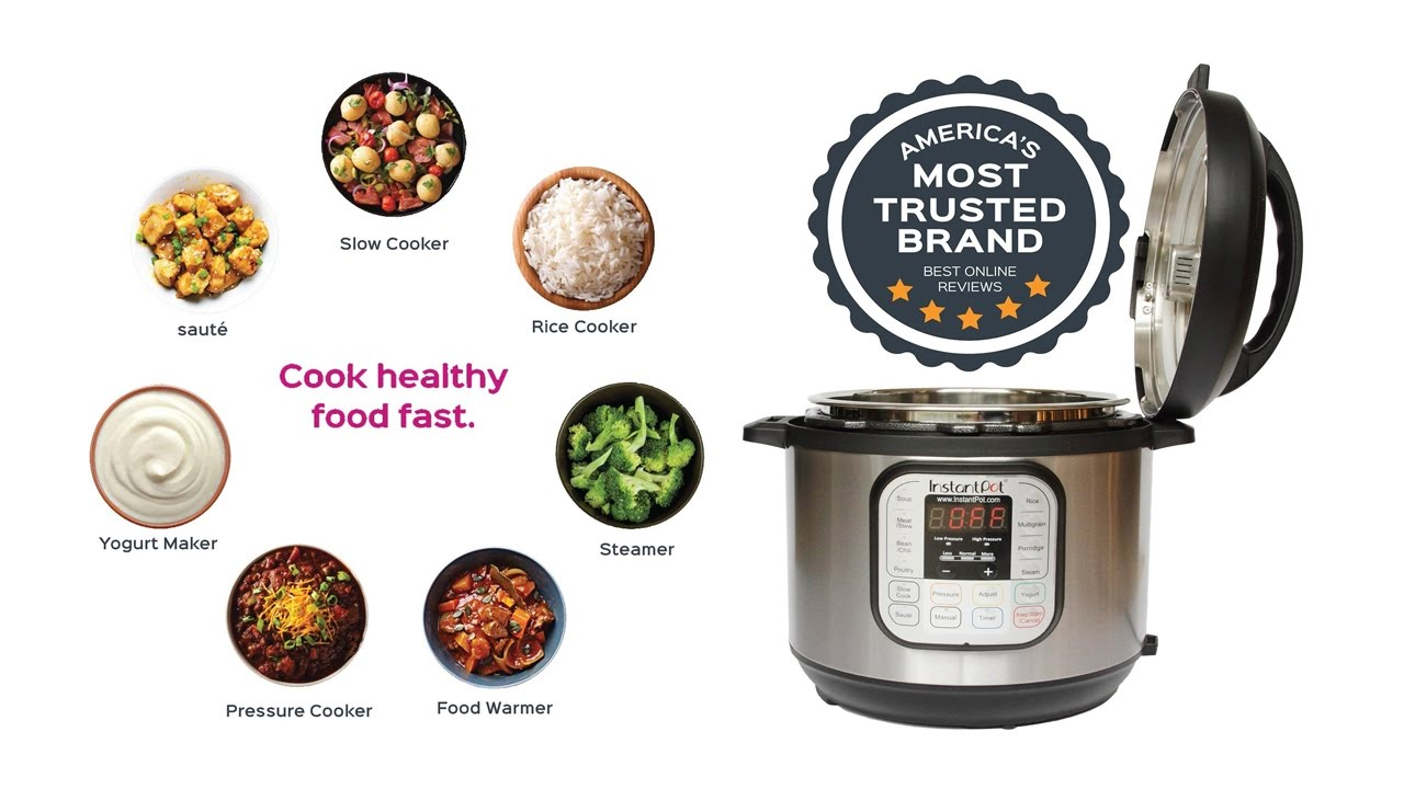 6qt//1000W Instant Pot IP-DUO60 7-in-1 Multi-Use Programmable Pressure Cooker