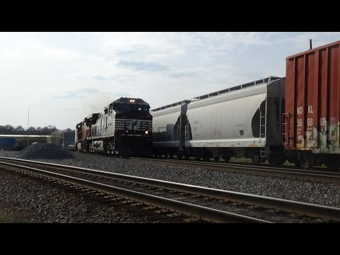 Austell Ga 3-15-14 with NS, CSX, BNSF power, military cargo, and a manned DPU!
