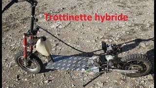 trottinette hybride , moteur thermique et électrique