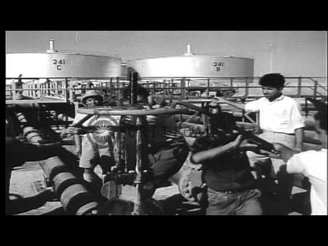 Scenes of Anglo-Iranian Oil Company facility at Abadan, Iran. HD Stock Footage