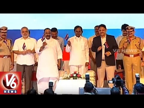 CM KCR Launches Telangana Police Flag At State Police Officers Conference | HICC | V6 News