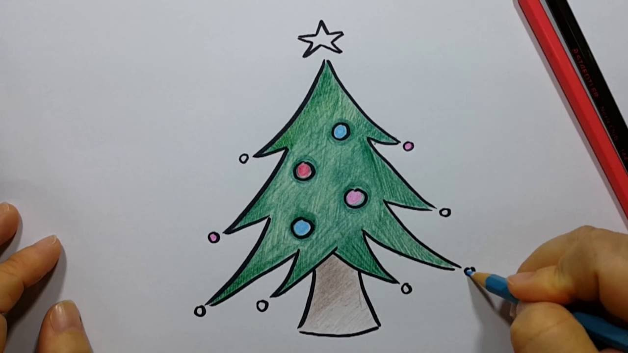 Christmas tree drawing - How To Draw Christmas Tree Easy And Fun