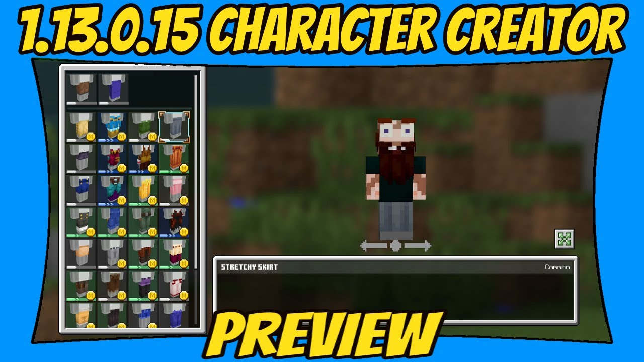 Character Skin Creator Minecraft Beta 9.93.9.95 Update Preview [Minecraft  Bedrock Edition] [MCPE]