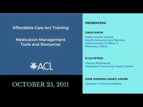 ACA Training Medication Management Tools and Resources