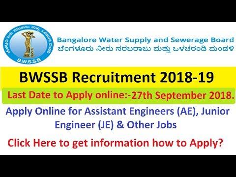BWSSB Recruitment 2018-19 Apply for AE, JE, Meter Reader