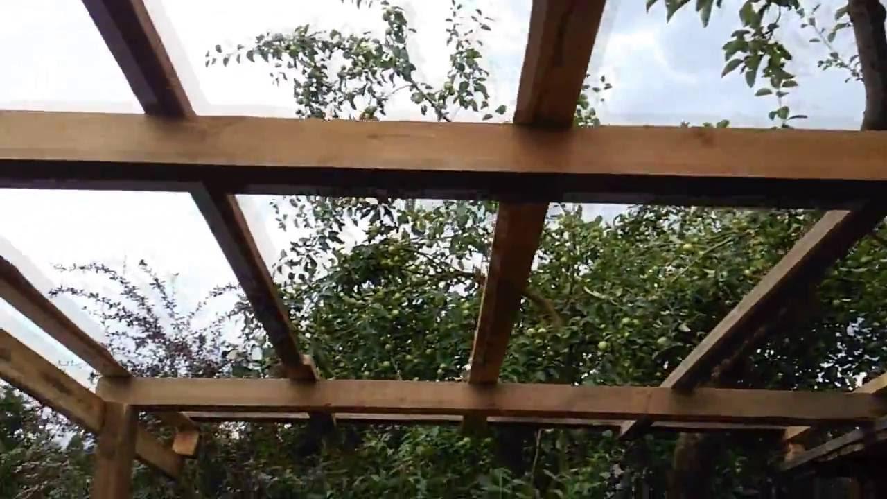 Навес деревянный на даче из поликарбоната своими руками фото 618