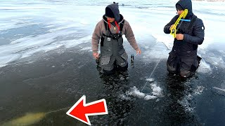 SURPRISE Catch Ice Fishing ULTRA CLEAR Thin Ice!!! (New Fish Species)