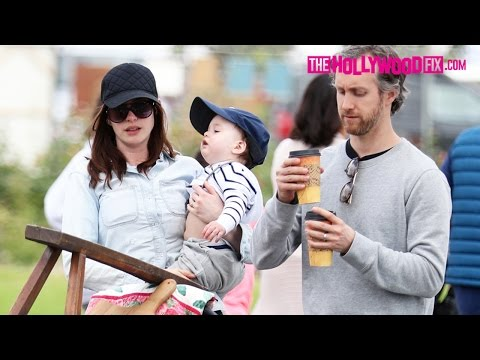 Anne Hathaway Shops With Her Husban & Newborn  At The Rose Bowl Flea Market 5.14.17