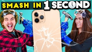 Try To Smash In One Second Challenge | React | Crush iPhones & Break Toys With Liquid Nitrogen