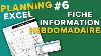 Fiche Hebdomadaire Automatique - Creer Planning #6Tuto Excel