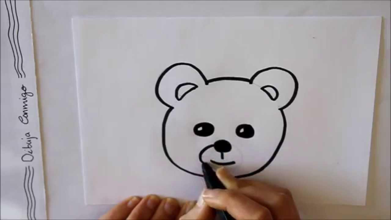 Cómo dibujar un Oso de Peluche (cara) Dibuja Conmigo - YouTube