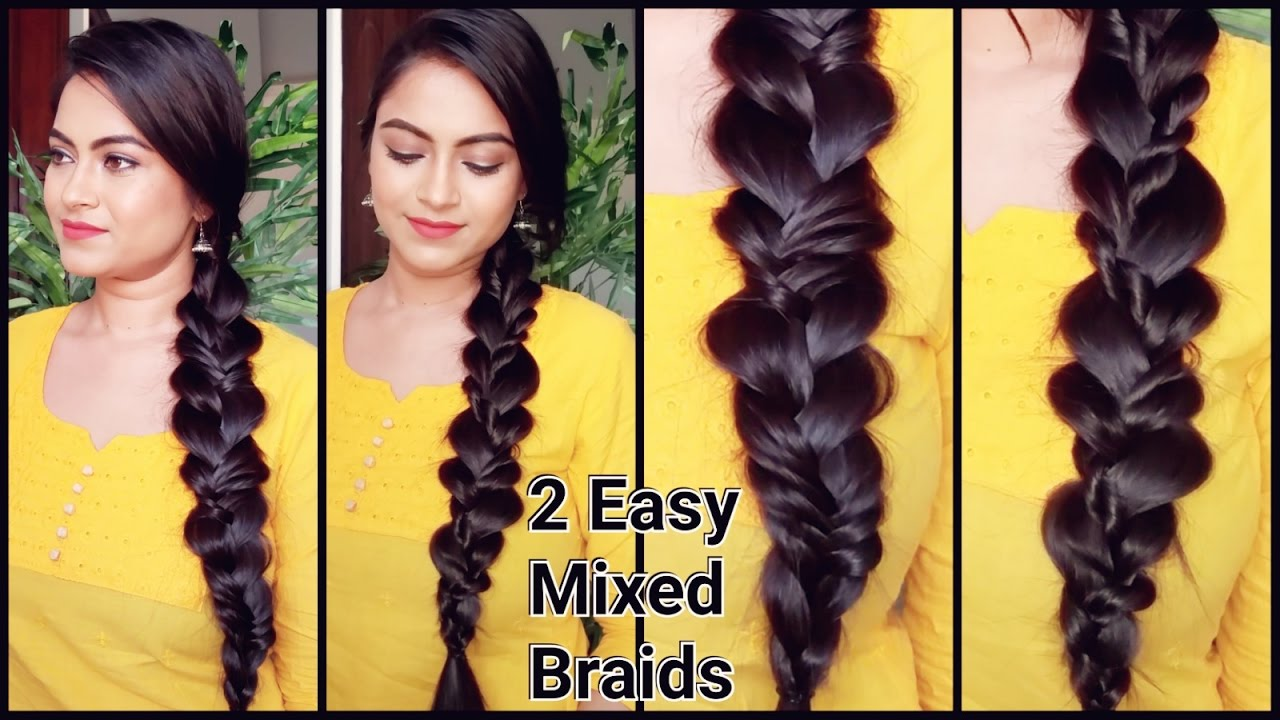 2 easy braids//indian hairstyles for medium to long hair//mixed braids