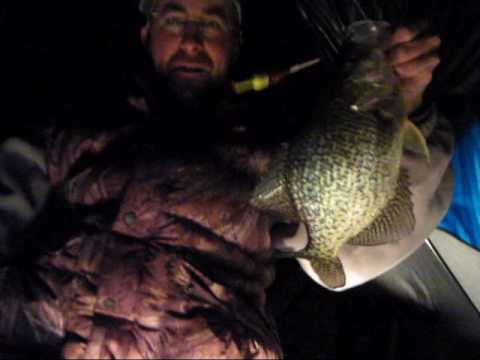 Ice fishing slabs at night with ed dzielak and friends for Ice fishing at night
