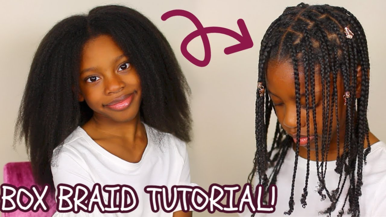 How To Kids Box Braids Tutorial No Hair Added Easy Protective