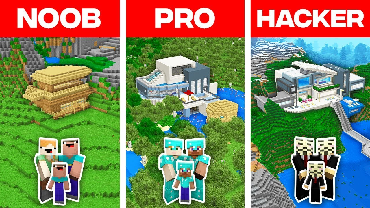 Minecraft Noob Vs Pro Vs Hacker Family Modern House Build